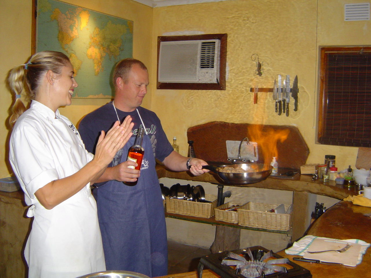 Executive Chef Mel Townsend supervising successful flambe!