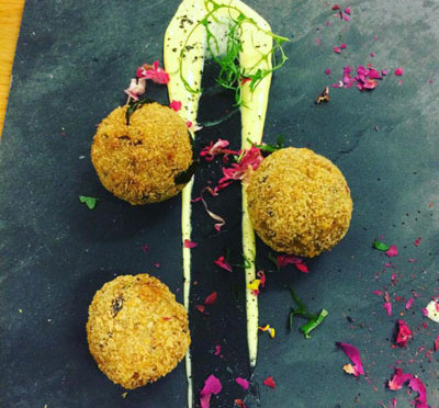 Porcini and basil Arancini with Verjuice mayo