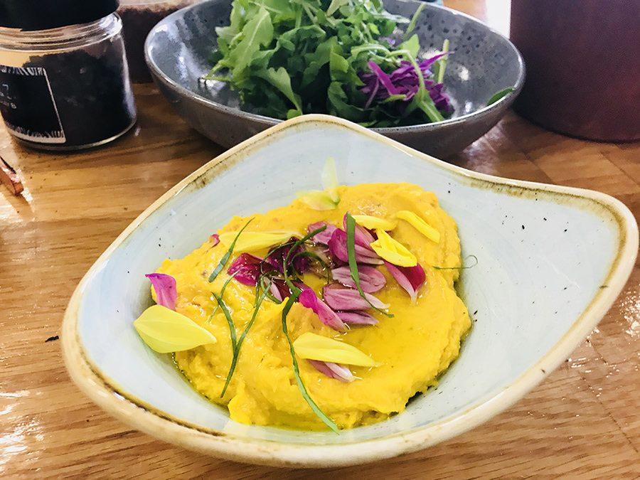 Butterbean and Ras el Hanout dip with lemon oil drizzle