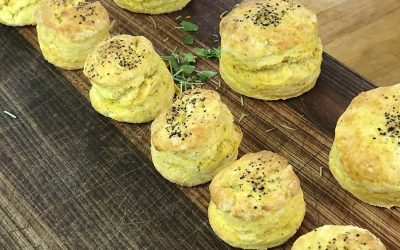 Perfect pumpkin and pepper scones with matching whipped pumpkin, pepper and parmesan butter.